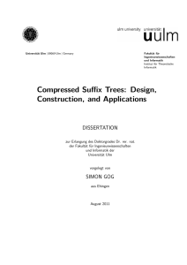 Compressed Suffix Trees: Design, Construction, and Applications