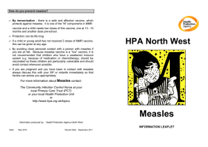 Measles information leaflet