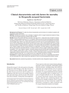 Clinical characteristics and risk factors for mortality in Morganella
