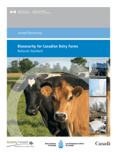 National Standard - Biosecurity for Canadian Dairy Farms