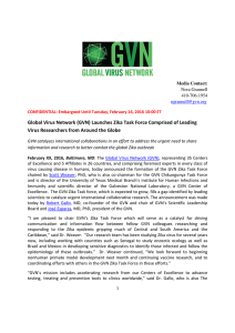 Global Virus Network (GVN) Launches Zika Task Force Comprised