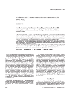 Median to radial nerve transfer for treatment of radial nerve palsy S
