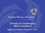 Therapy for Challenging Wrist Conditions Marianne Williams B.Sc.P.T., CHT