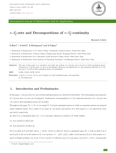 A -sets and Decompositions of ⋆-A -continuity