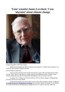 `Gaia` scientist James Lovelock: I was `alarmist` about climate change