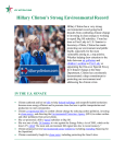 Hillary Clinton`s Strong Environmental Record