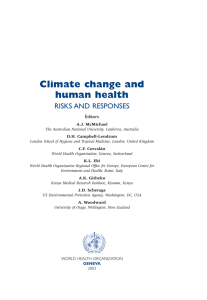 Climate change and human health RISKS AND  RESPONSES Editors