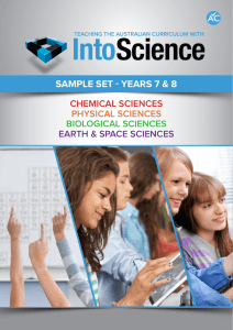 SAMPLE SET - YEARS 7 & 8 PHYSICAL SCIENCES CHEMICAL SCIENCES