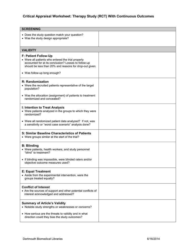 Critical Appraisal Worksheet with Key Learning Points ...
