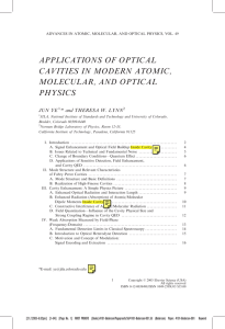 applications of optical cavities in modern atomic, molecular