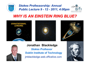 WHY IS AN EINSTEIN RING BLUE? Jonathan  Blackledge Stokes Professorship: Annual