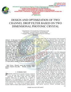 DESIGN AND OPTIMIZATION OF TWO CHANNEL DROP