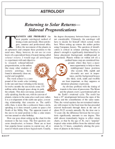 Returning to Solar Returns— Sidereal Prognostications