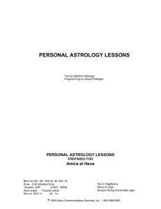 PERSONAL ASTROLOGY LESSONS