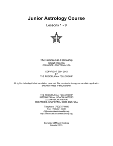 Junior Astrology Course - The Rosicrucian Fellowship