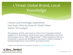 L`Oreal: Global Brand, Local Knowledge