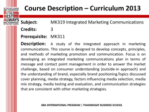 MK 319 Integrated Marketing Communications