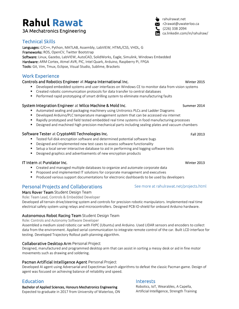 View Printable Resume