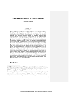 Turkey and Turkish Jews in France: 1940-1944