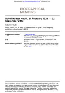 David Hunter Hubel. 27 February 1926 — 22 September 2013