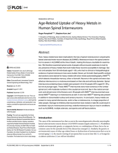 Age-Related Uptake of Heavy Metals in Human Spinal Interneurons