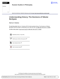 Understanding History: The Decisions of Nikolai Berdyaev