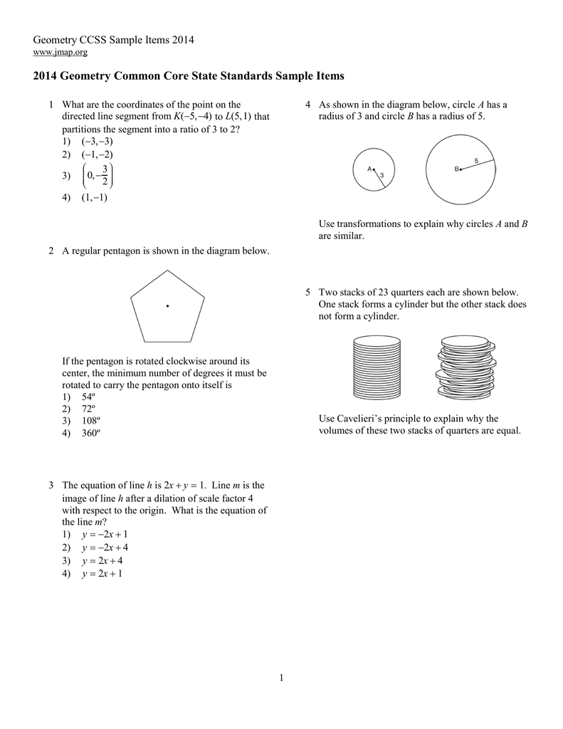 2014 Geometry Common Core State Standards Sample Items