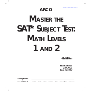 master the sat* subject test: math levels 1 and 2