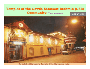 Temples of the Gowda Saraswat Brahmin (GSB)