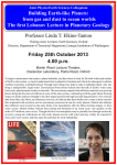 Friday 25th October 2013 4.00 p.m. Professor Linda T. Elkins