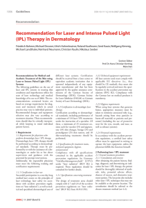 Recommendation for Laser and Intense Pulsed Light (IPL) Therapy