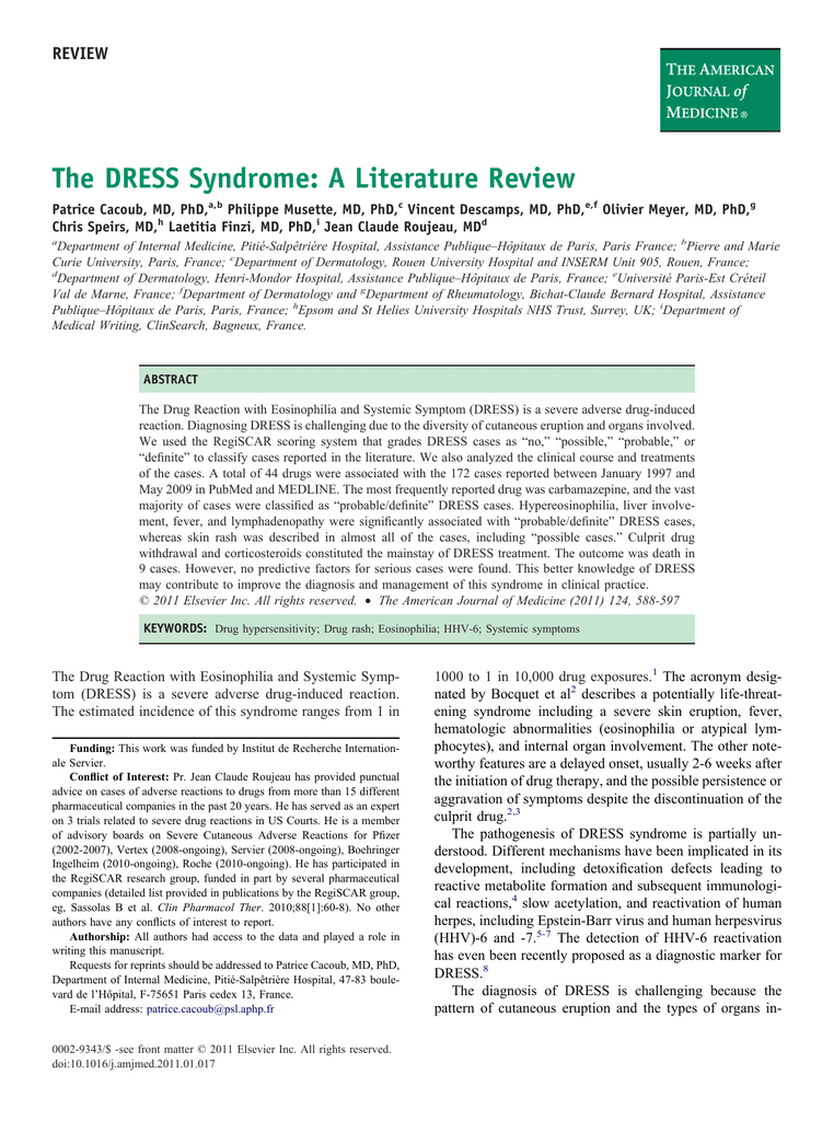 The DRESS Syndrome: A Literature Review