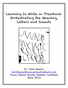 Learning to Write in Preschool: Orchestrating the Meaning, Letters