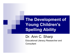 The Development of Young Children's Spelling Ability Dr. Ann C. Sharp