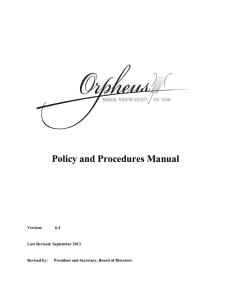 Policy and Procedures Manual - Orpheus Musical Theatre Society