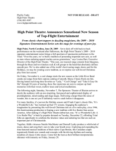 High Point Theatre Announces Sensational New Season of Top