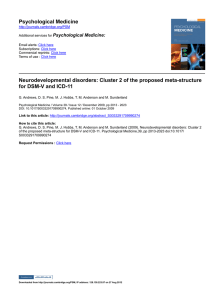 Psychological Medicine Neurodevelopmental disorders: Cluster 2 of