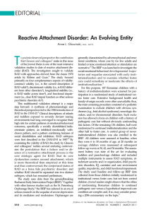 Reactive Attachment Disorder: An Evolving Entity