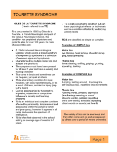 Tourette Syndrome Fact Sheet - Learning Difficulties Coalition