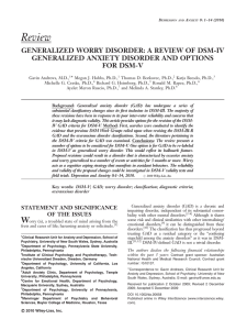 Generalized worry disorder - DSM-5