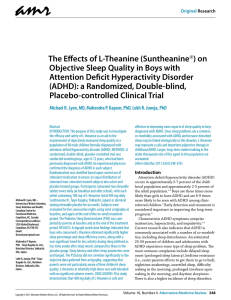 The Effects of L-Theanine (Suntheanine®)
