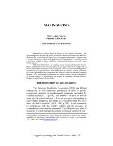 Malingering - Applied Psychology in Criminal Justice