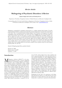 Malingering of Psychiatric Disorders: A Review