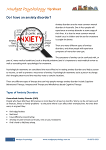 Info Sheet. Do I have an anxiety disorder?