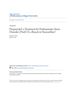 Propranolol: a Treatment for Posttraumatic Stress Disorder (Ptsd) Or