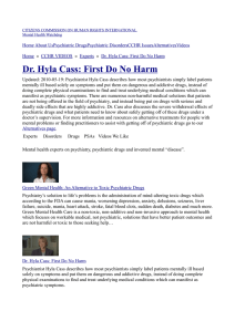 Dr. Hyla Cass: First Do No Harm