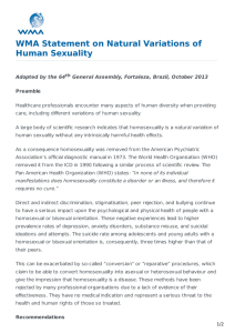 WMA Statement on Natural Variations of Human Sexuality