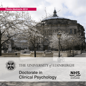 Doctorate in Clinical Psychology Thesis Abstracts 2012