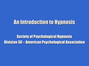 An Introduction to Hypnosis Society of Psychological Hypnosis