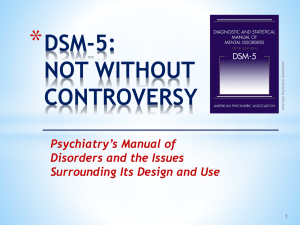 * DSM-5: NOT WITHOUT CONTROVERSY